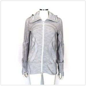 Lululemon Light Grey and White Striped Hoodie